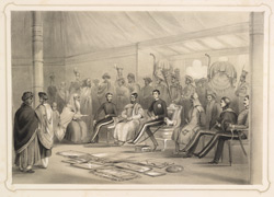 Lord Auckland receiving The Raja Of Nahun in Durbar in his tent